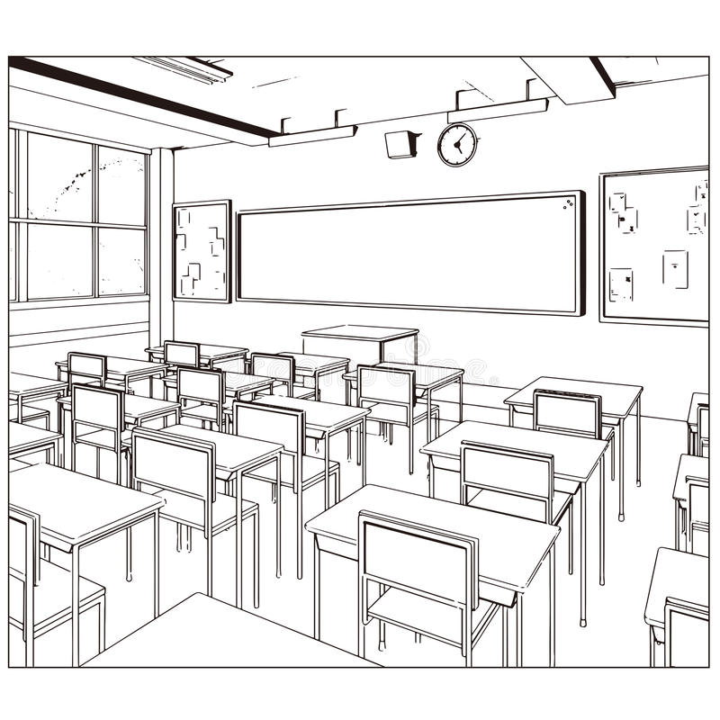 Desenho do vetor de uma sala de classe fotografia de stock
