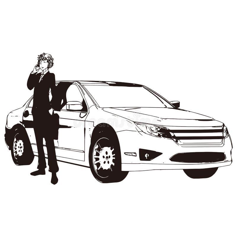 Desenho do vetor do carro e do homem fotografia de stock royalty free