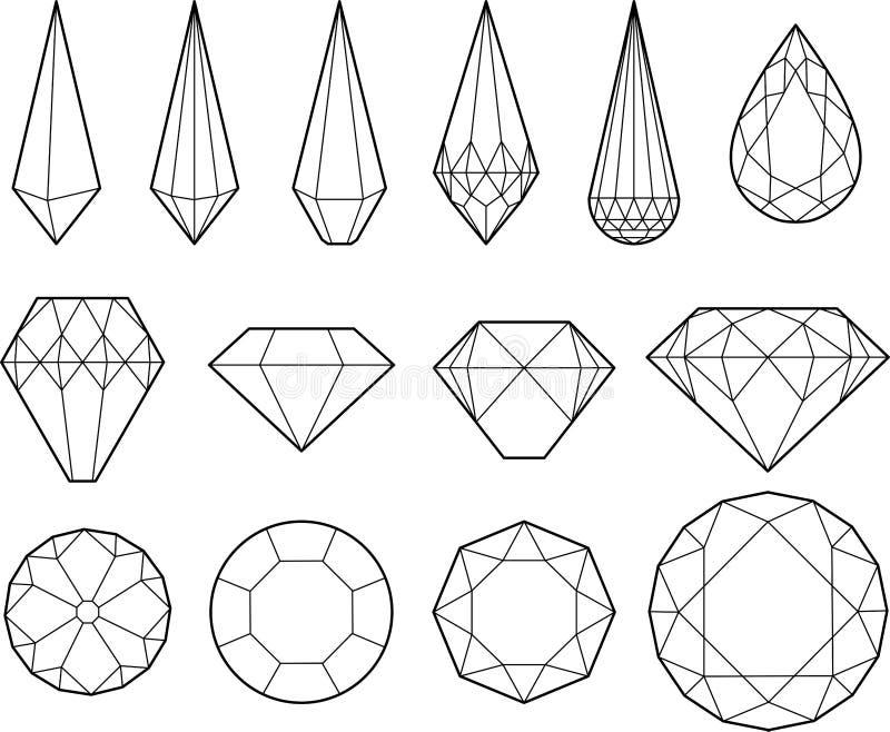 Desenho do vetor dos diamantes, dos cristais e de pedras preciosas ilustração stock
