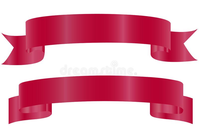 Desenho do vetor Fitas curvadas brilhantes vermelhas isoladas no fundo branco Projeto real?stico, elemento para cumprimentar ou p ilustração stock