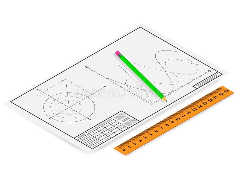 Desenho do vetor, lápis com uma régua e gráficos ilustração stock