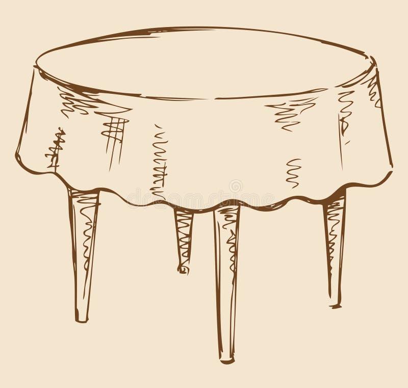 Desenho do vetor Mesa redonda com toalha de mesa ilustração royalty free