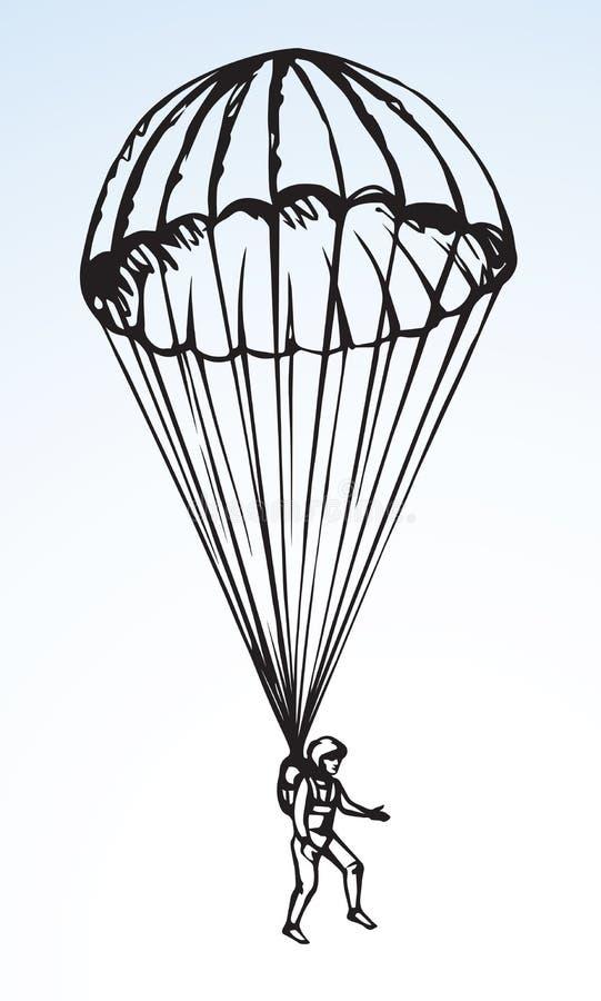 Desenho do vetor do paraquedista ilustração do vetor