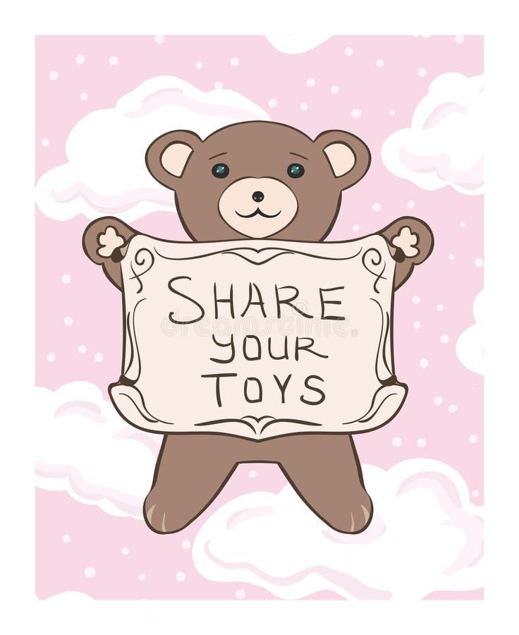 Desenho do vetor do ` s das crianças de um filhote de urso da peluche com um sinal ao sha ilustração royalty free