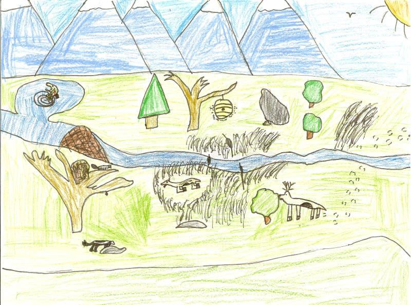 Desenho dos animais selvagens da criança ilustração do vetor