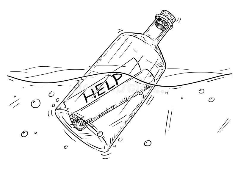Desenho dos desenhos animados da mensagem da ajuda na garrafa que flutua no oceano ilustração stock