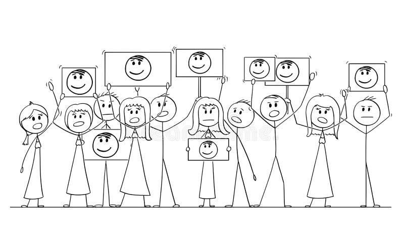 Desenho dos desenhos animados do grupo de pessoas que demonstra com o retrato de Politian ou o líder nas mãos ilustração royalty free