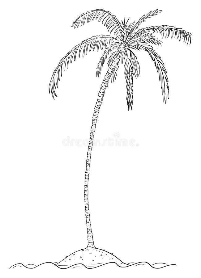 Desenho dos desenhos animados do vetor da palmeira na ilha pequena no oceano ilustração do vetor