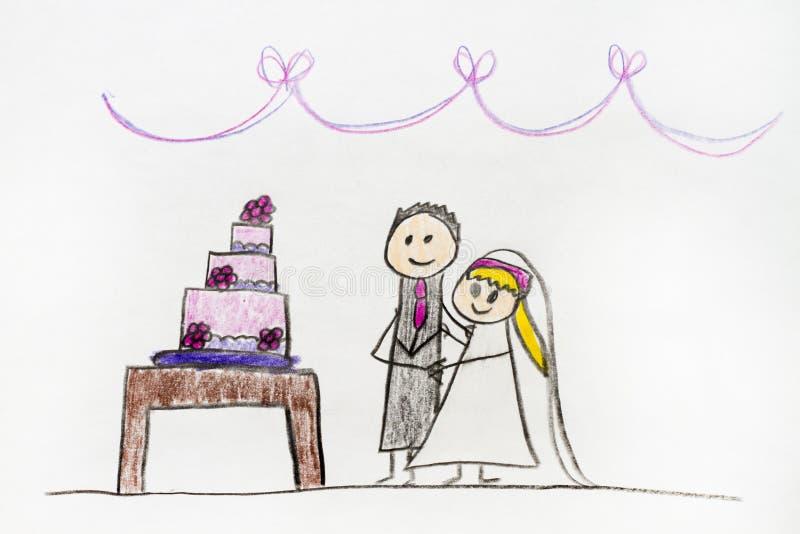 Desenho dos pares do casamento imagem de stock royalty free