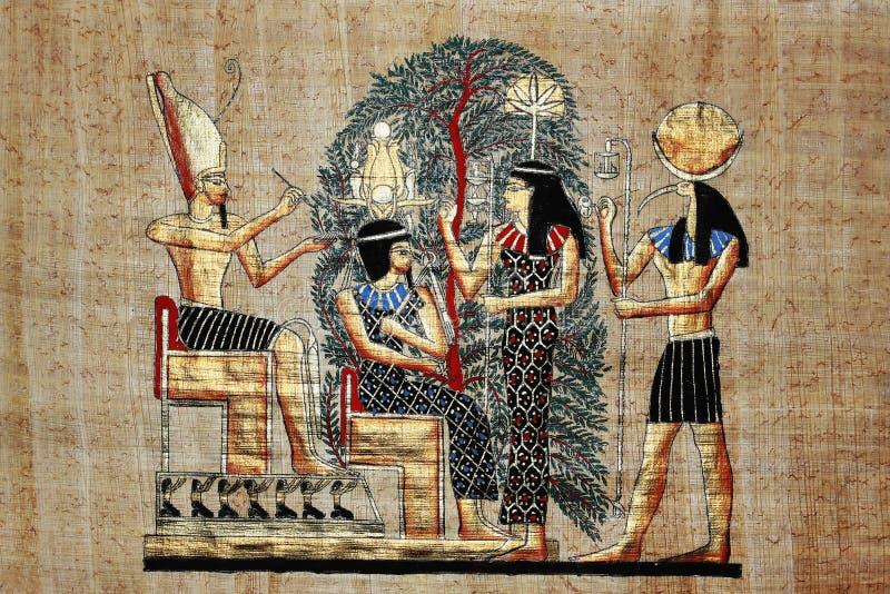 Desenho egípcio do ouro no papiro fotos de stock