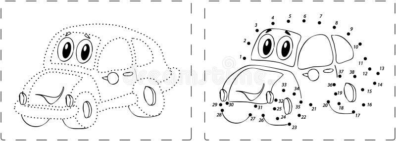 Desenho engraçado do carro com pontos e dígitos ilustração stock