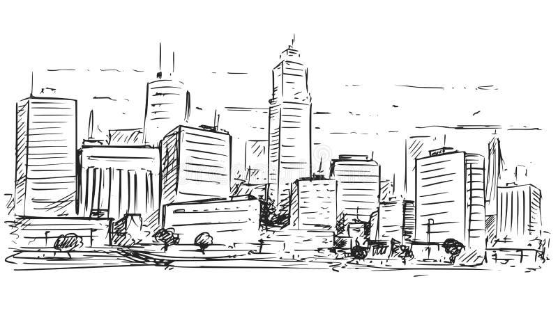 Desenho esboçado da paisagem alta da elevação da cidade ilustração stock