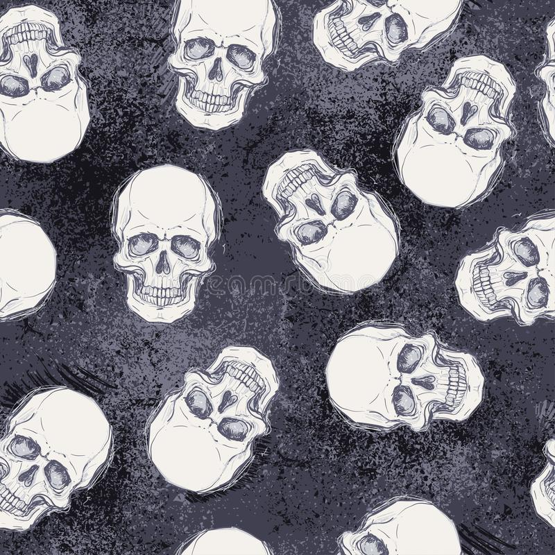 Desenho esboçado do estilo do crânio humano, cabeça humana, patte sem emenda ilustração stock