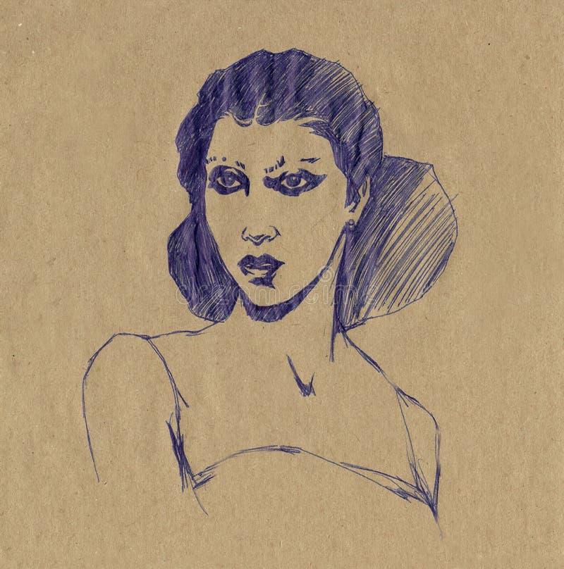 Desenho espanhol da pena do retrato da mulher ilustração do vetor