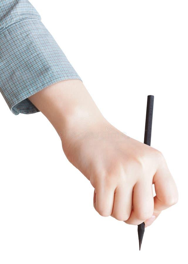 Desenho fêmea da mão pelo lápis preto isolado imagens de stock