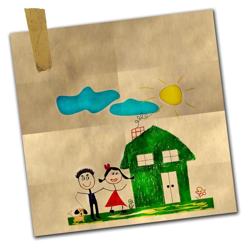 Desenho feliz da família ilustração royalty free