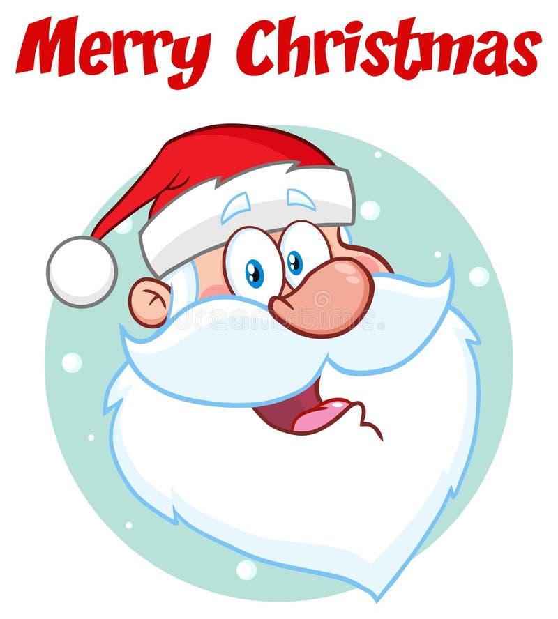 Desenho feliz da mão do caráter de Santa Claus Face Classic Cartoon Mascot ilustração royalty free