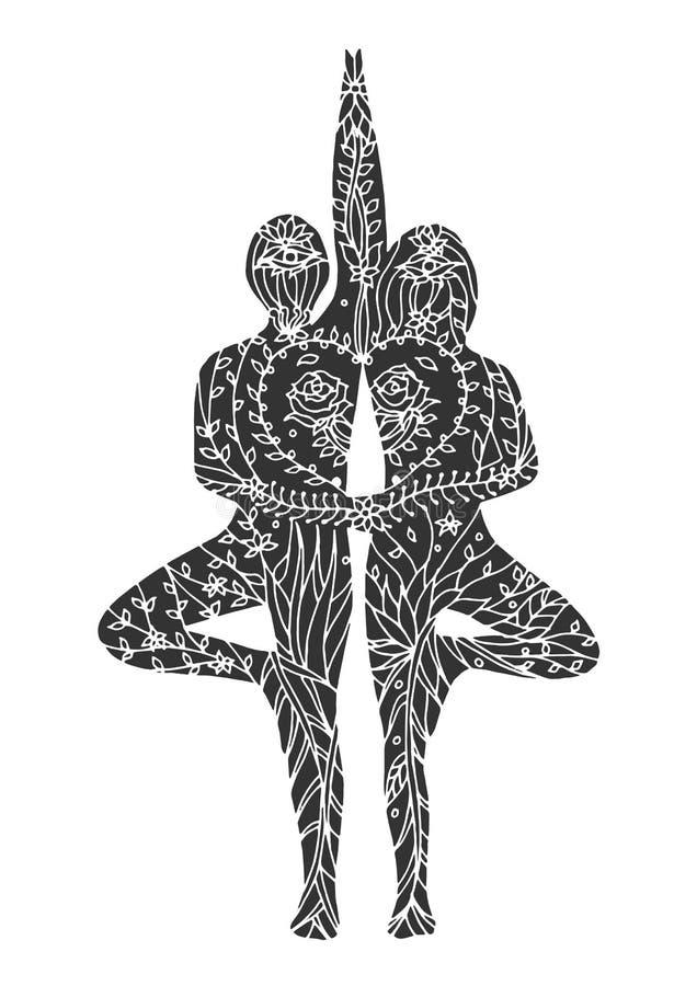 Desenho floral da flor do vetor do chakra da ioga 7 da pose da árvore dos pares ilustração royalty free