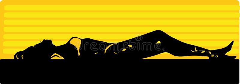 Desenho gráfico dos termas, mulher do solário Silhueta isolada ilustração stock