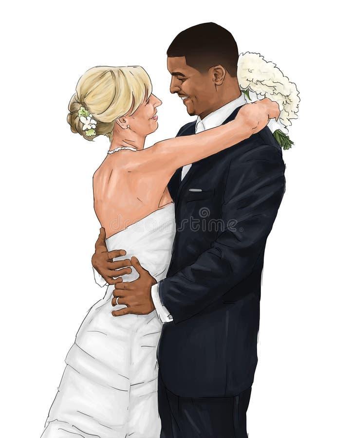 Desenho inter-racial da noiva e do noivo imagens de stock royalty free