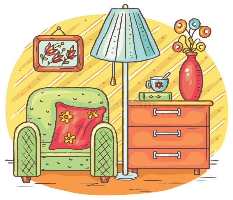 Desenho interior com uma poltrona, uma lâmpada e uma caixa de gavetas ilustração do vetor