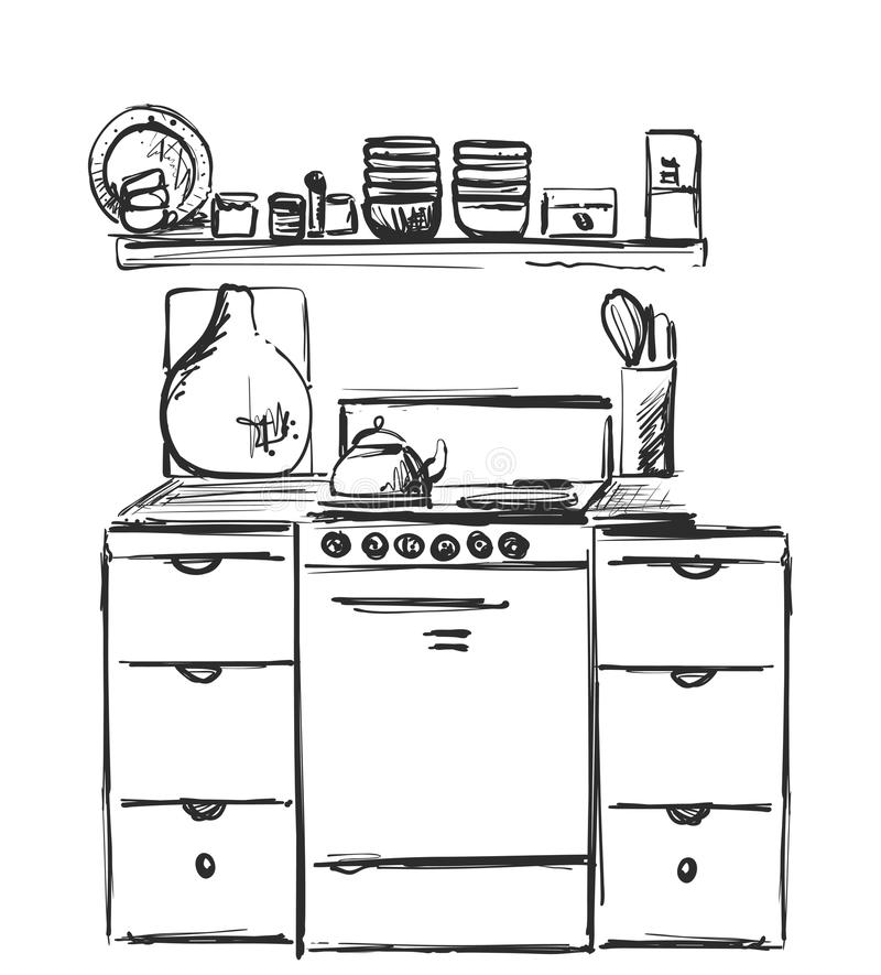 Desenho interior da cozinha Esboço da mobília ilustração do vetor