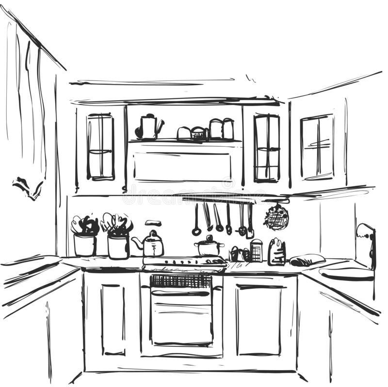 Desenho interior da cozinha Esboço da mobília ilustração stock