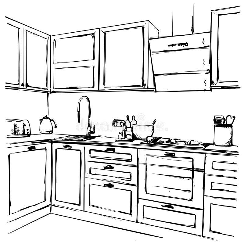 Desenho interior da cozinha, ilustração do vetor Esboço da mobília ilustração royalty free
