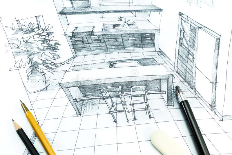 Desenho interior da mão ilustração stock