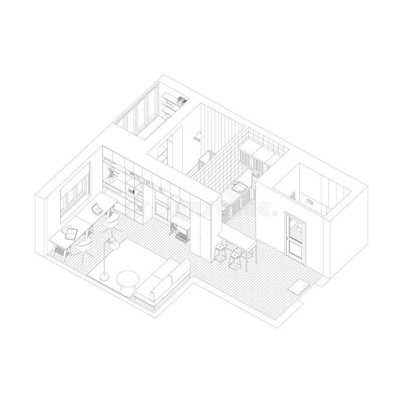 Desenho interior do apartamento ilustração do vetor