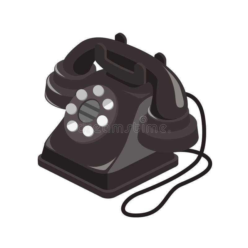 Desenho isométrico do telefone velho foto de stock royalty free