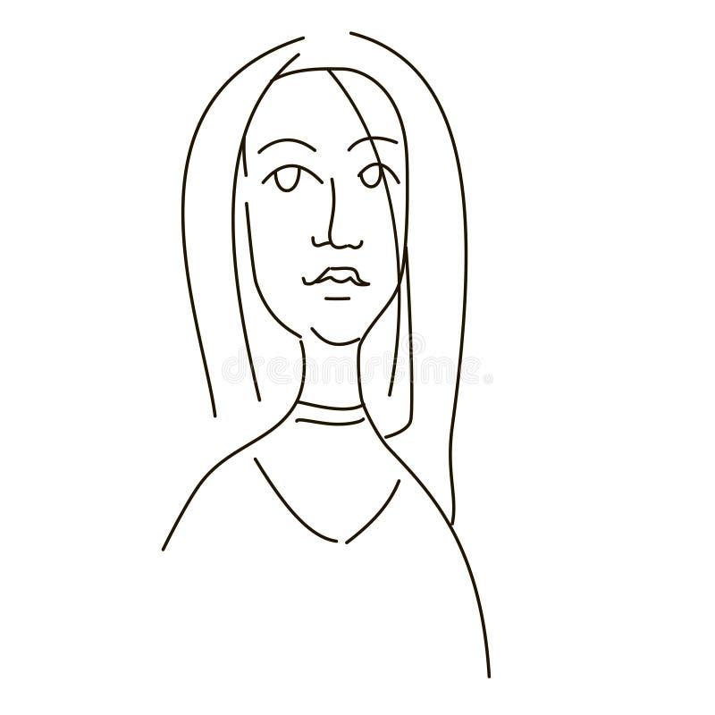 Desenho linear da cara de uma menina ilustração royalty free