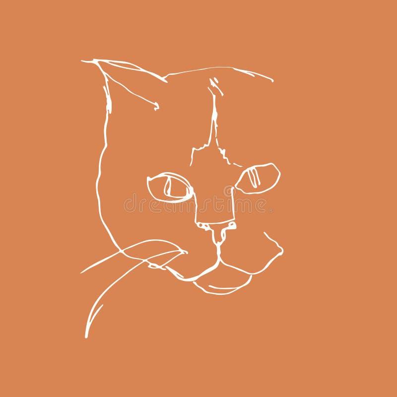 Desenho linear do gato Retrato de Minimalistic do gato Mão gráfica arte tirada ilustração stock
