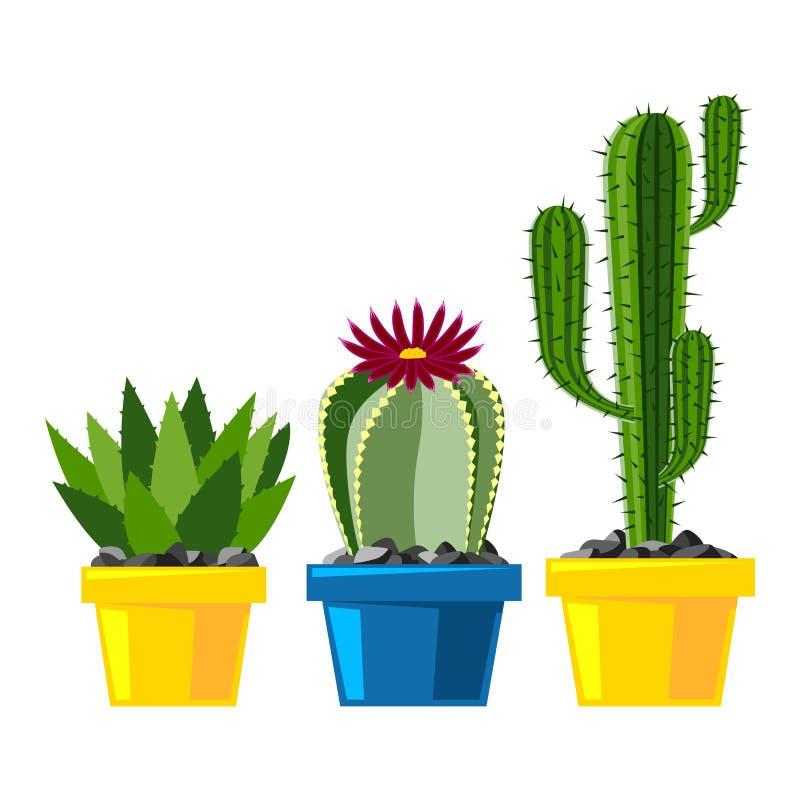 Desenho liso dos desenhos animados do verde da flor do deserto da natureza do estilo do cacto ilustração stock