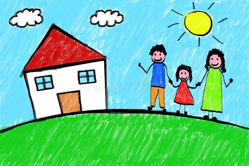 Desenho a mão livre da criança da casa da família ilustração do vetor