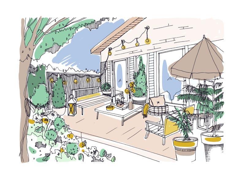 Desenho a mão livre do pátio ou do terraço do quintal fornecido no estilo escandinavo do hygge Varanda da casa com mobília modern ilustração stock