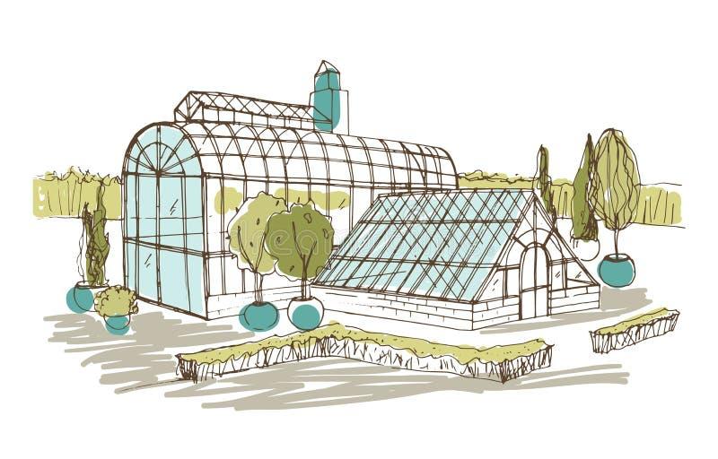 Desenho a mão livre do pavilhão ou da estufa cercado por arbustos e árvores que crescem em uns potenciômetros Esboço da fachada d ilustração stock