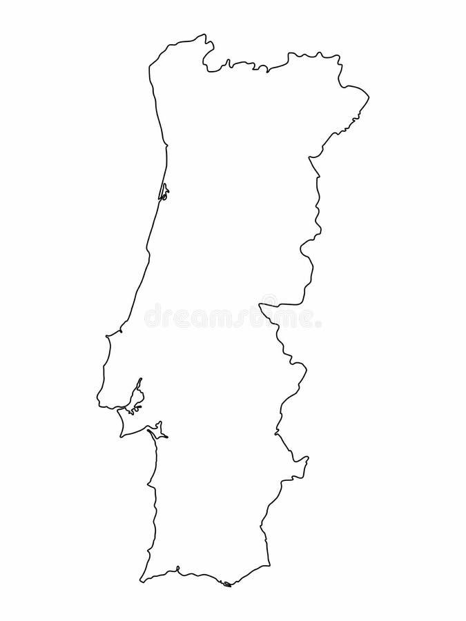 Desenho a m?o livre gr?fico do esbo?o do mapa de Portugal no fundo branco Ilustra??o do vetor ilustração royalty free