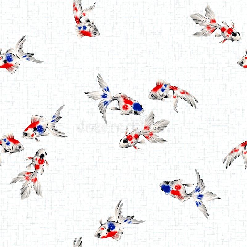 Desenho a mão livre, teste padrão dos peixes do estilo japonês ilustração stock