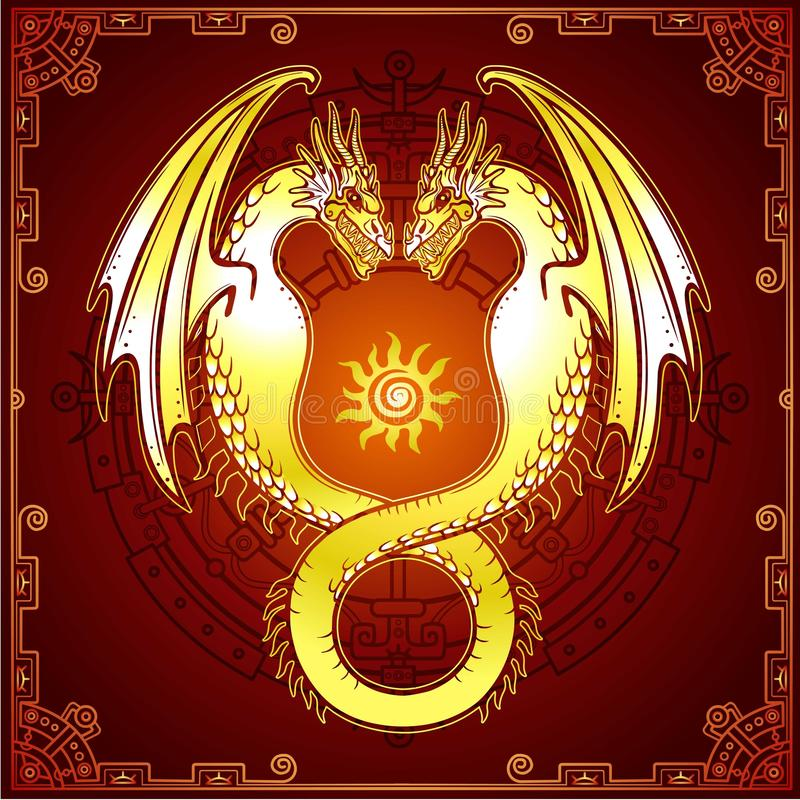 Desenho místico: dragão do ouro dobro, Uroboros, uma serpente com duas cabeças ilustração stock