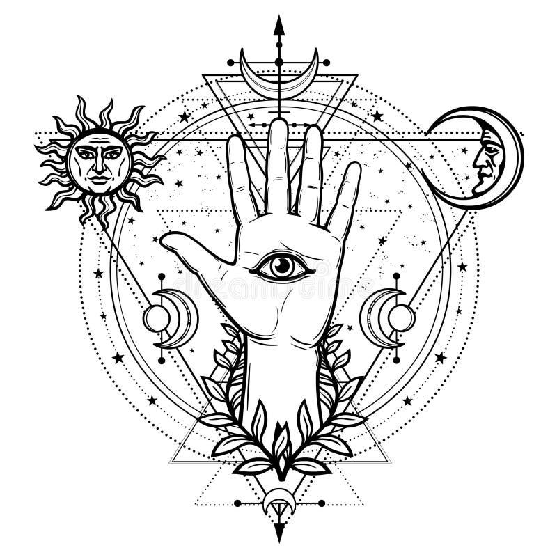 Desenho místico: mão divina, todo-vendo o olho, círculo de uma fase da lua ilustração royalty free
