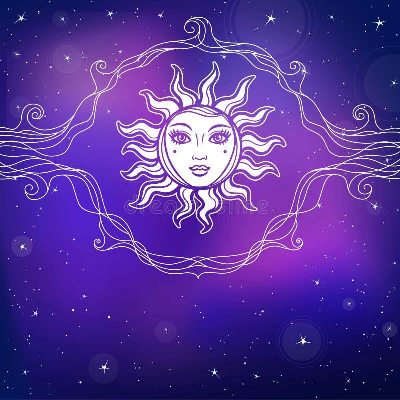Desenho místico: o sol com um rosto humano, vinheta a céu aberto ilustração royalty free