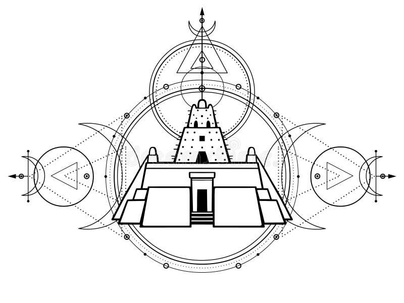 Desenho místico - um ziggurat antigo, símbolos lunares, círculos da energia, geometria sagrado ilustração royalty free