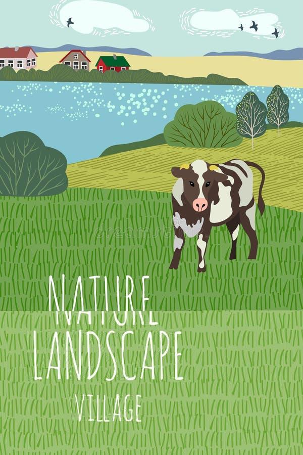 Desenho a m?o livre de um dia de ver?o na vila Ilustração vertical bonito do vetor de uma paisagem rural com vaca, árvores ilustração royalty free
