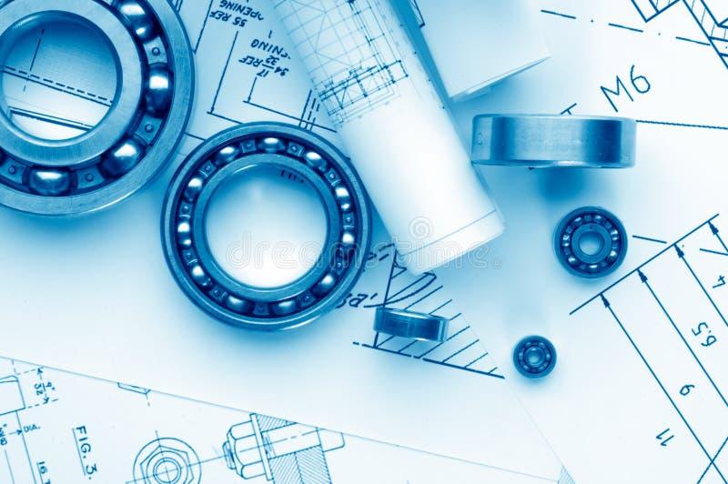 Desenho mecânico e ferramentas fotos de stock