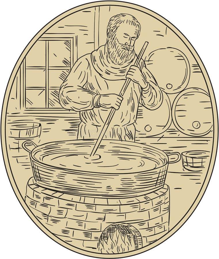 Desenho medieval de Brewing Beer Oval da monge ilustração stock
