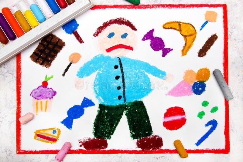 Desenho: Menino gordo e e doces em torno dele ilustração stock