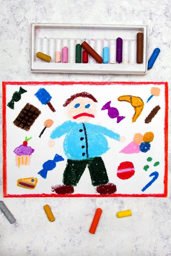Desenho: Menino gordo e e doces em torno dele ilustração royalty free