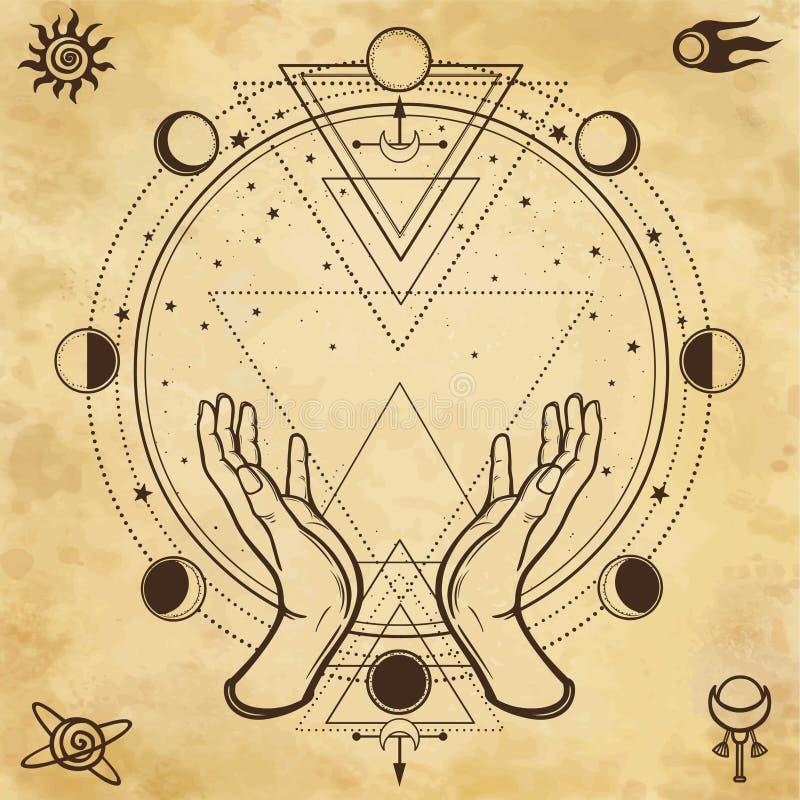 Desenho misterioso: as mãos humanas guardam um círculo mágico, geometria sagrado Símbolos do espaço ilustração royalty free