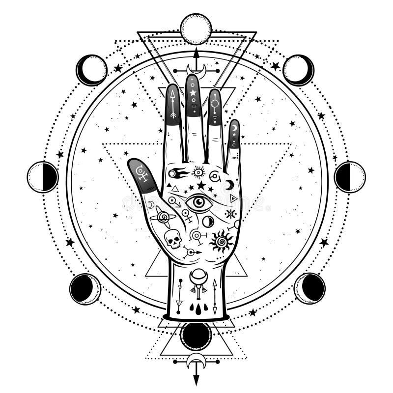 Desenho misterioso: mão divina, olho do providência, geometria sagrado, fases da lua ilustração royalty free